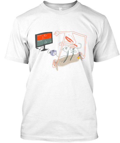 Ascii Keyboard Game Cube Controller White T-Shirt Front