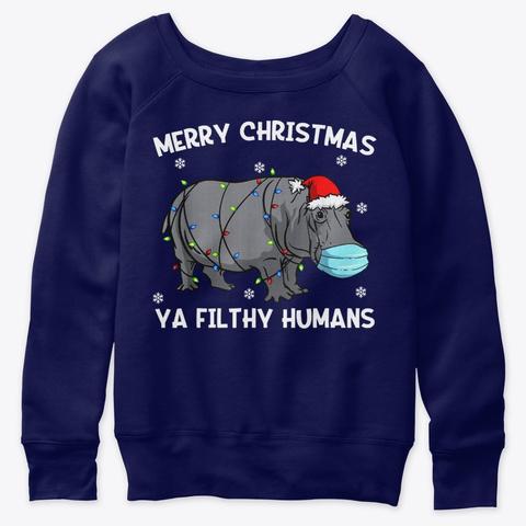 Merry Christmas Hippo Hippopotamus Santa Navy  T-Shirt Front