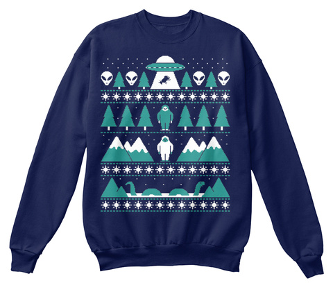 Paranormal Christmas Sweater Navy  T-Shirt Front