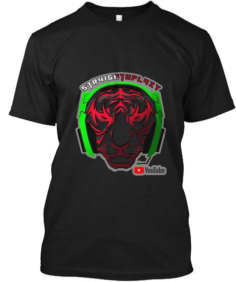 Str4ightupl4zy Original Tiger Kid's Black T-Shirt Front