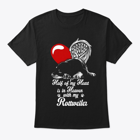 Rottweiler Half Heart Black T-Shirt Front