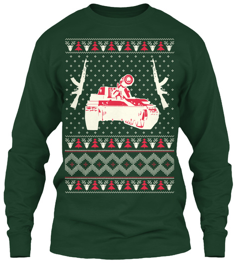 Military Christmas Ugly Sweater   Hq Forest Green Long Sleeve T-Shirt Front