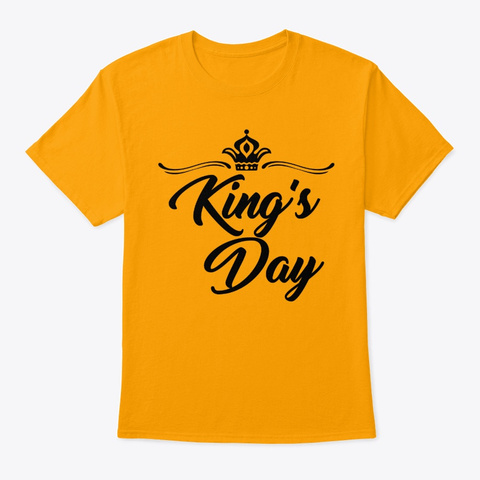 King's Day Netherlands Orange Women Men Gold T-Shirt Front