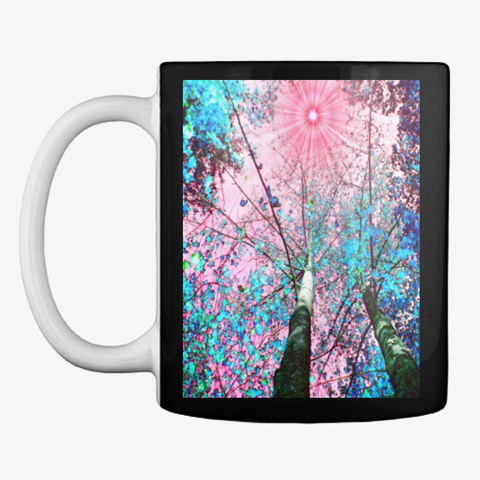 Pink Blue Trees Black T-Shirt Front