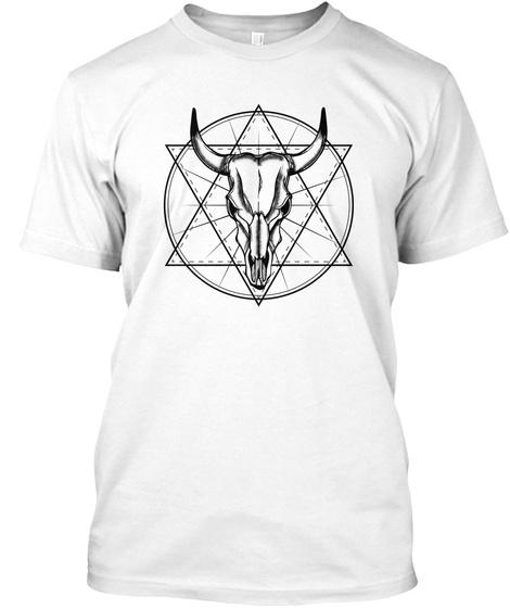 Cattle Skull Art For Women And Men White T-Shirt Front