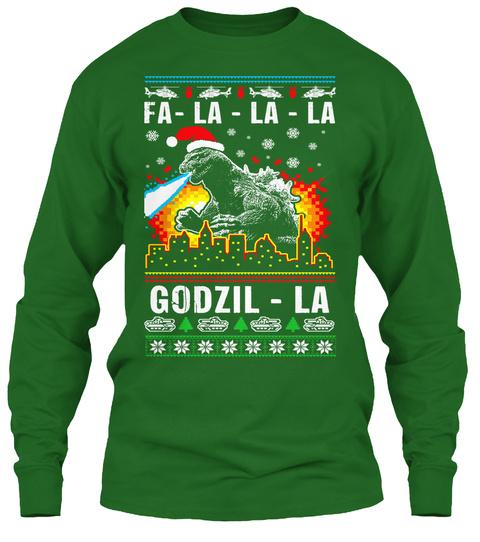 Fa La La La Godzil La Irish Green Long Sleeve T-Shirt Front