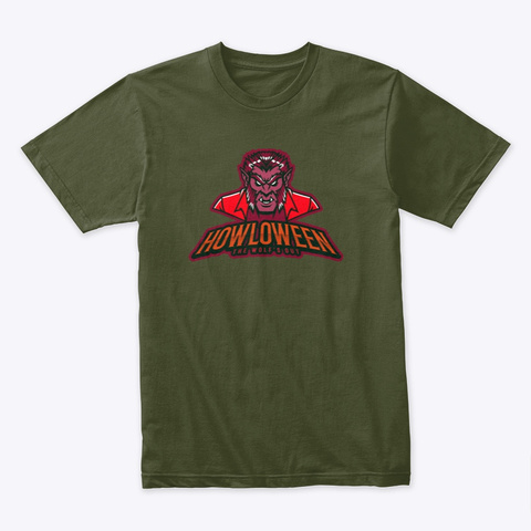 Howloween, The Wolf's Out Military Green T-Shirt Front