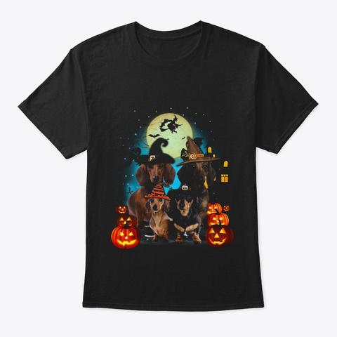 Dachshund Halloween Black T-Shirt Front