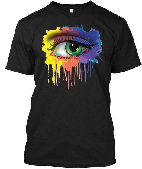 Rainbow Eye Shirt Hipster Paint Splatter Black T-Shirt Front