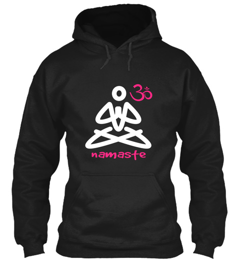 Namaste Black T-Shirt Front