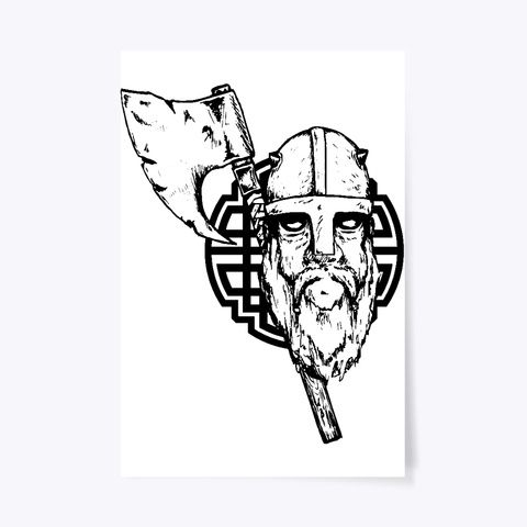 Viking With Axe White T-Shirt Front