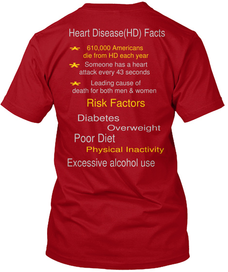 Heart Disease(Hd) Facts 610,000 Americans  Die From Hd Each Year  * * Someone Has A Heart  Attack Every 43 Seconds ... Deep Red T-Shirt Back
