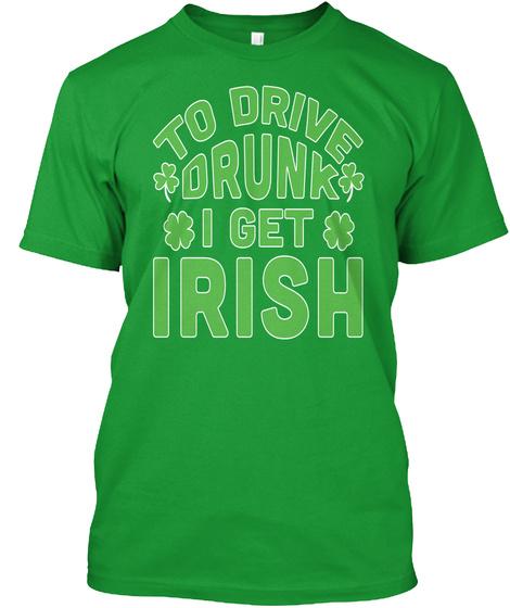 Irish Beer Drinking Tshirt Kelly Green T-Shirt Front