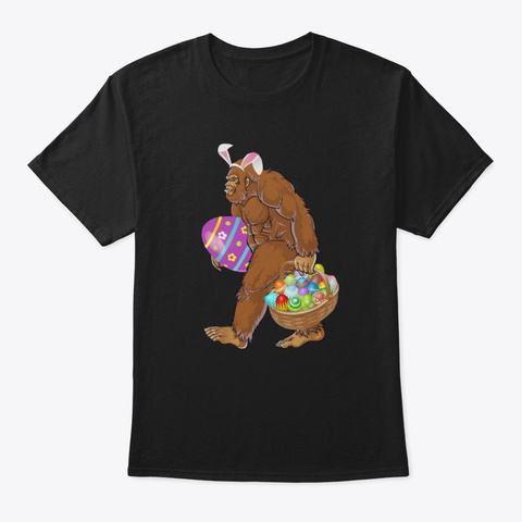 Funny Bigfoot Hunting Easter Eggs Shirts Black T-Shirt Front