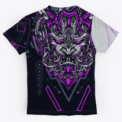 Japanese Evil Demon Mask Light Grey T-Shirt Back