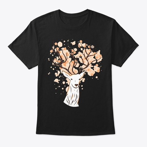 Cherry Blossom Antlers Deer Lover Gift Black T-Shirt Front