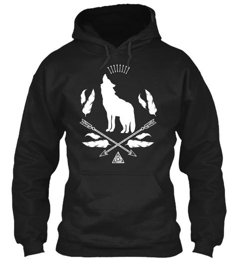 Bohemian Wolf Howling Arrows Feathers Black Maglietta Front