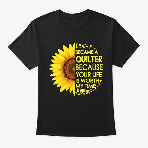 Quilter Sunflower Black T-Shirt Front