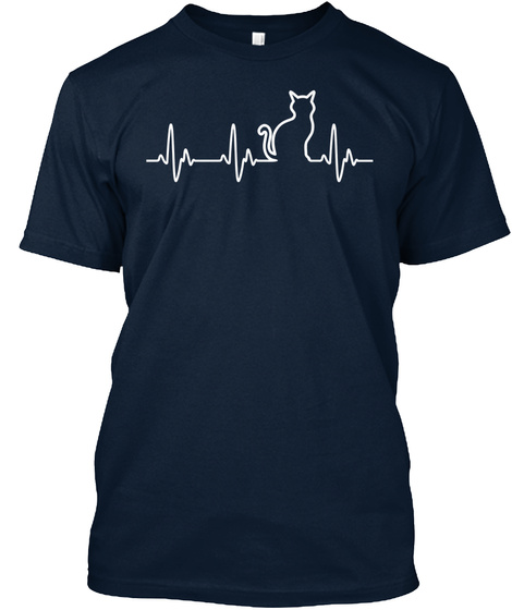 Cat Heartbeat — Hoodies And Tees New Navy T-Shirt Front