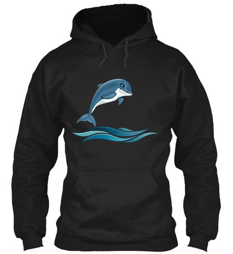 Dolphin Art T Shirt Black T-Shirt Front