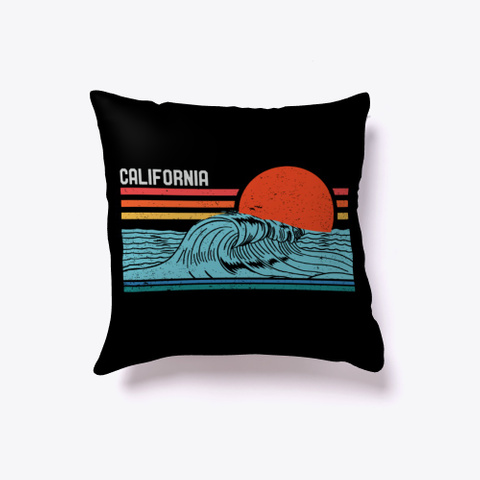 Vintage Retro California Beach Surfing Black T-Shirt Front