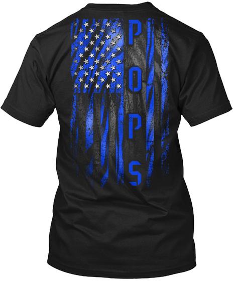 Pops Blue Tiger American Flag Black T-Shirt Back