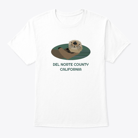 Del Norte County Ca Otter Pnw Tribal White T-Shirt Front