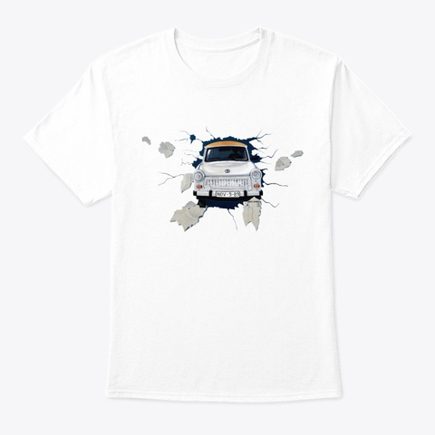 Old School Soviet Car Graffiti Print Art White T-Shirt Front
