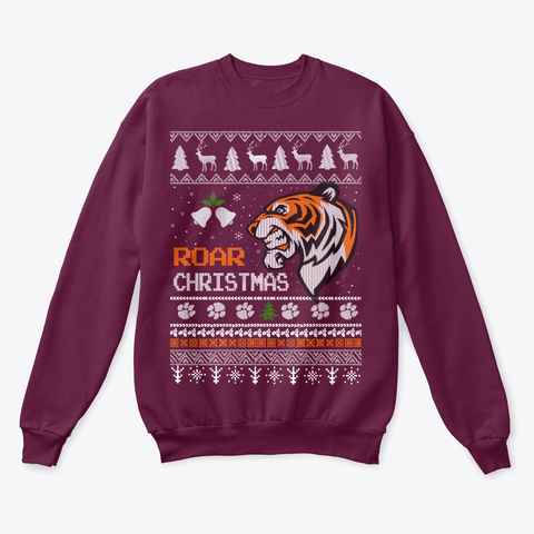 Tiger Lover Ugly Christmas Sweater Maroon  T-Shirt Front