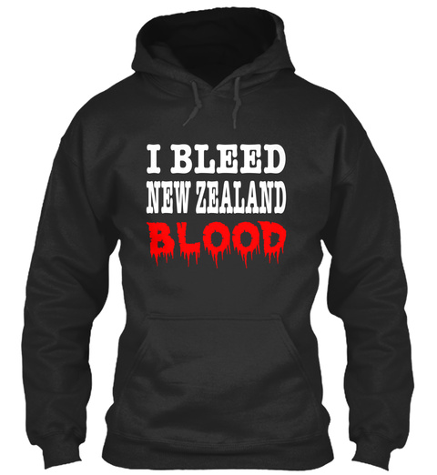 I Bleed New Zealand Blood Jet Black T-Shirt Front
