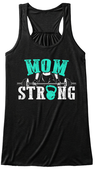 Mom Strong Black Camiseta Front