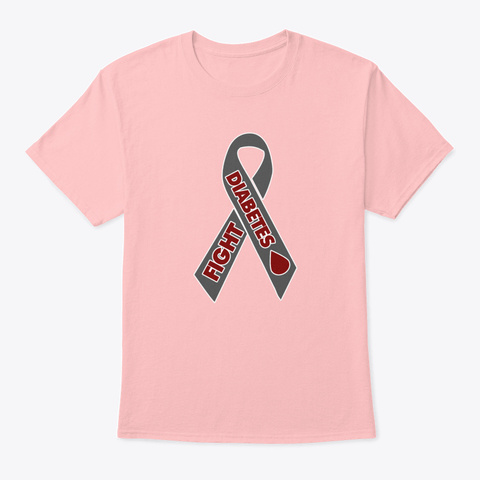 Fight Diabetes Awareness Ribbon Pale Pink T-Shirt Front