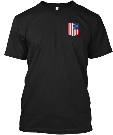 American Flag Chest Pocket Black T-Shirt Front