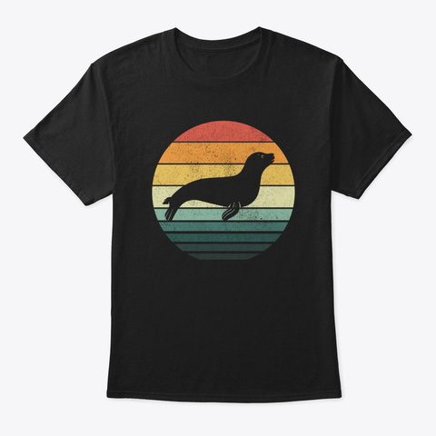 Sea Lion Sunset Retro Vintage 70s Animal Black T-Shirt Front
