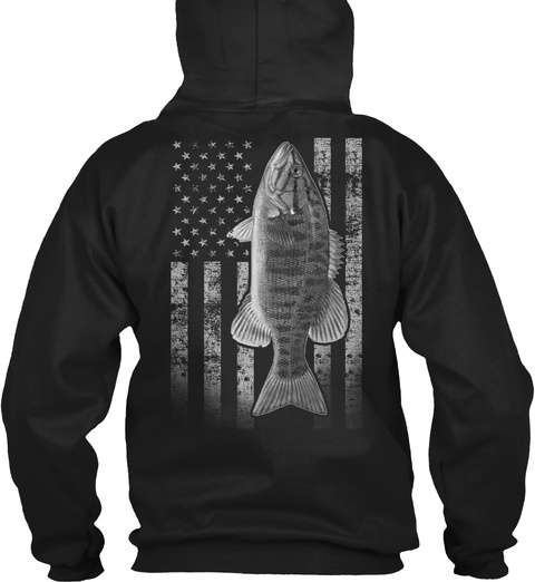 Real Smallmouth Fishing Flag  Black T-Shirt Back