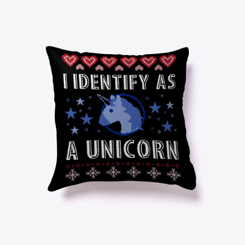 I Identify As A Unicorn Black T-Shirt Front