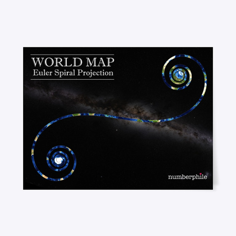 Euler Spiral World Map   Numberphile Black T-Shirt Front