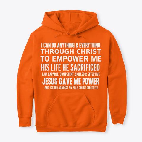 #52 Devotionals I Am Powerful Safety Orange T-Shirt Front