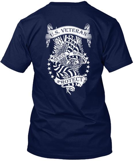 U.S. Veteran Serve Honor Protect Navy T-Shirt Back
