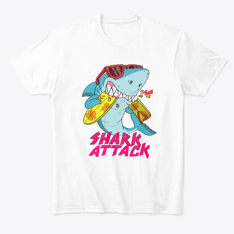 Shark Attack (Comfort Tee) White T-Shirt Front