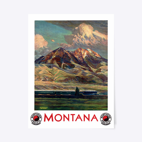 Montana Travel Poster White T-Shirt Front