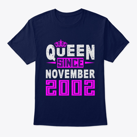 Queen Since November 2002 Birthday Gift Navy T-Shirt Front