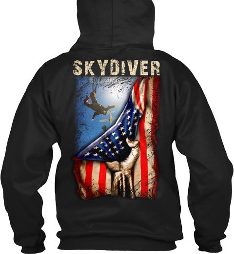 Skydiver Black T-Shirt Back