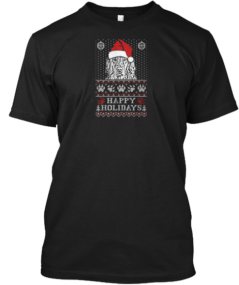 Happy Holidays Golden Retriever Lover Black T-Shirt Front