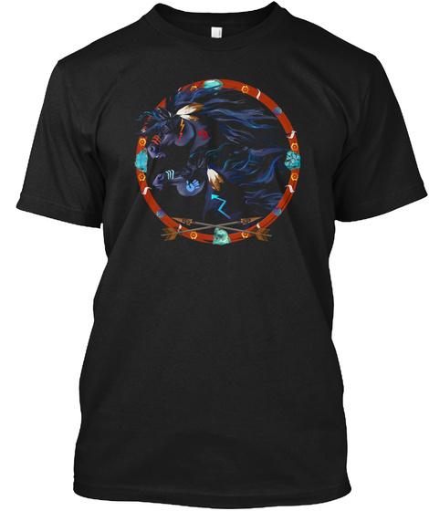 Black Horse Mandala Poster Black T-Shirt Front