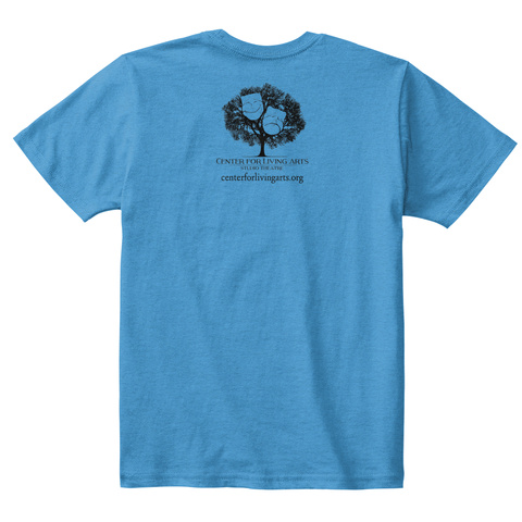 Center For Living Arts Heathered Bright Turquoise  T-Shirt Back
