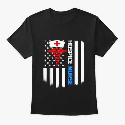 Hospice Nurse Shirt Us Flag Black T-Shirt Front
