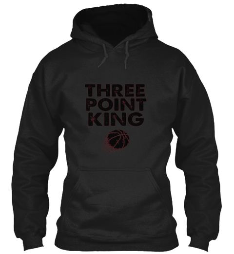 Three Point King Funny Basketball T Shir Black T-Shirt Front