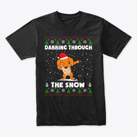 Dabbing Dachshund Santa Xmas 2019 Shirt Black T-Shirt Front