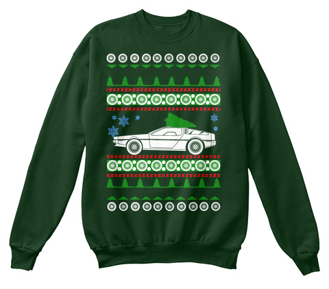 Delorean Dmc 12 Ugly Sweater Xmas Deep Forest  Camiseta Front